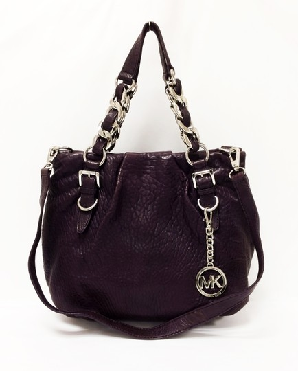 Michael Kors Leather Tote Purple Chain Weaved Crossbody Shoulder Bag Image 1