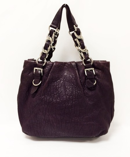 Michael Kors Leather Tote Purple Chain Weaved Crossbody Shoulder Bag Image 11