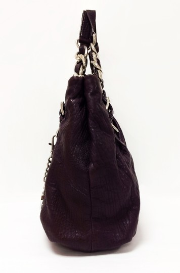 Michael Kors Leather Tote Purple Chain Weaved Crossbody Shoulder Bag Image 2