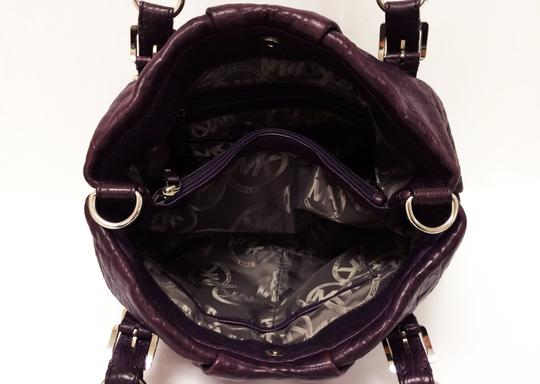 Michael Kors Leather Tote Purple Chain Weaved Crossbody Shoulder Bag Image 3