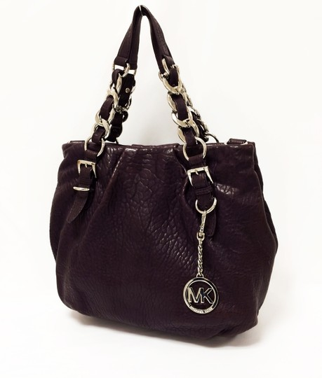 Michael Kors Leather Tote Purple Chain Weaved Crossbody Shoulder Bag Image 5