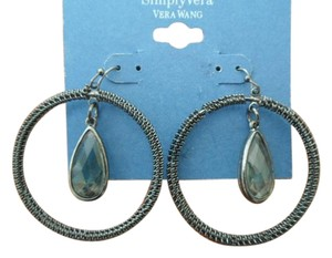 Vera Wang NEW Vera Wang Dangle Hoop Earrings with Dangling Smoky Gray Center Stone