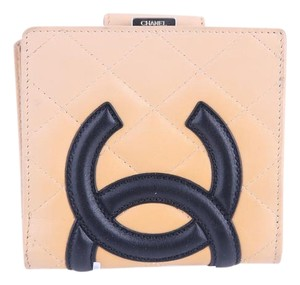 Chanel * Chanel Cambon Cc Logos Bifold Wallet Beige Leather France Vintage