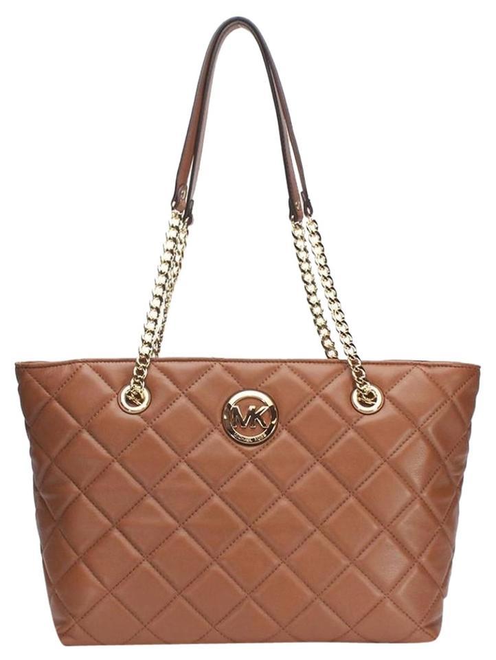 c726fe4a0858 Michael Kors Fulton Quilted Large East West Walnut Leather Tote ...