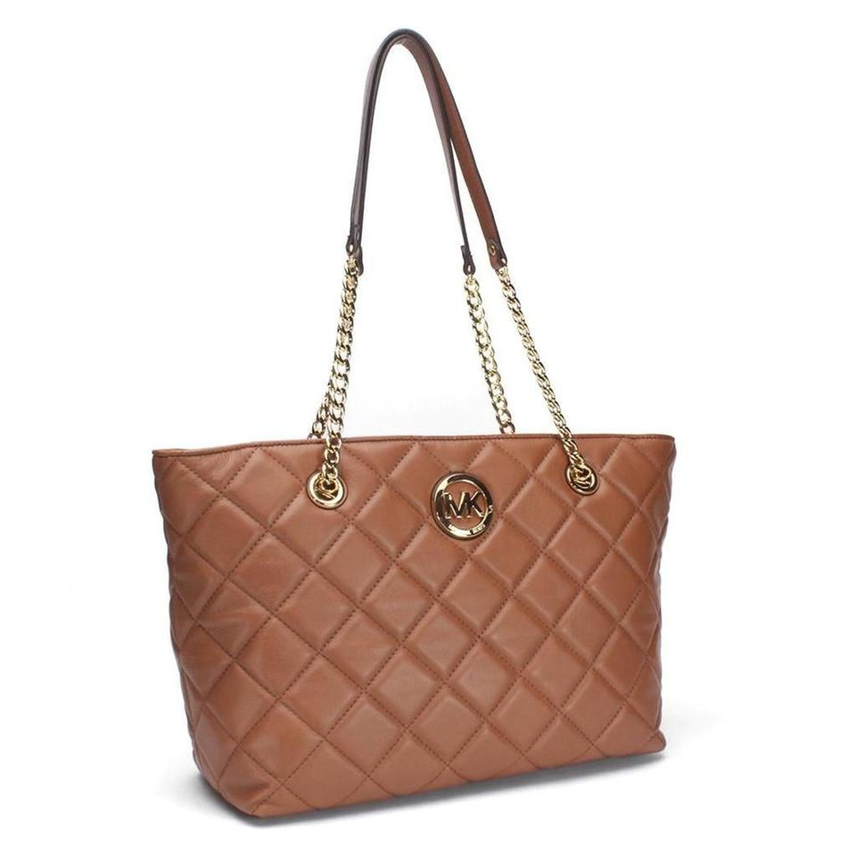 b217cd42154a Michael Kors Fulton Quilted Large East West Walnut Leather Tote - Tradesy