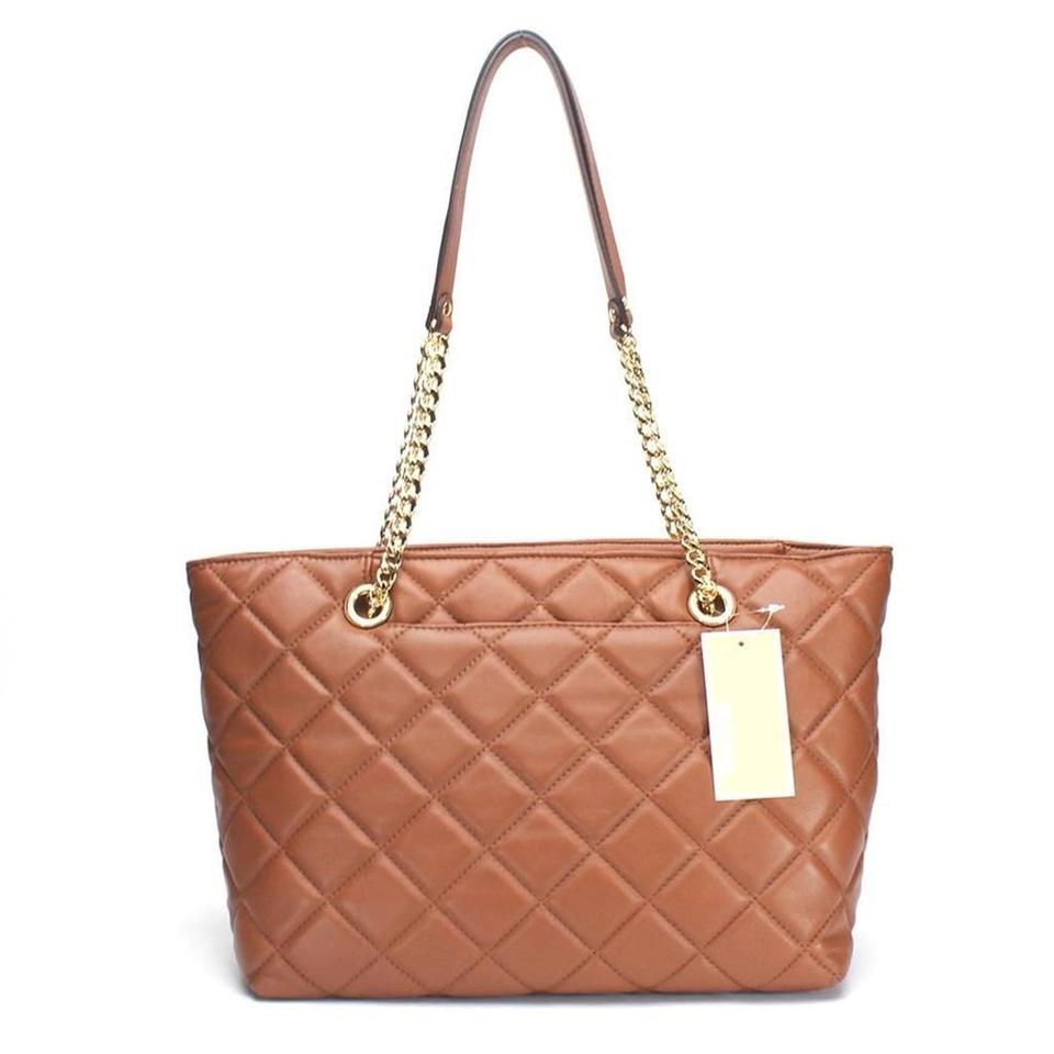 d0e622c59ed0fd ... Shoulder Handbags Michael Kors Fulton Quilted Large East West Walnut  Leather Tote - Tradesy ...