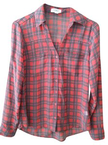 Express Button Down Shirt Red plaid