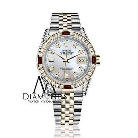 Rolex Ladies Rolex Steel & Gold 26mm Datejust MOP 8+2 Dial Ruby & Diamond Image 1