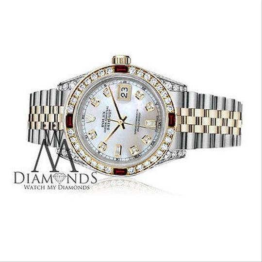 Rolex Ladies Rolex Steel & Gold 26mm Datejust MOP 8+2 Dial Ruby & Diamond Image 2