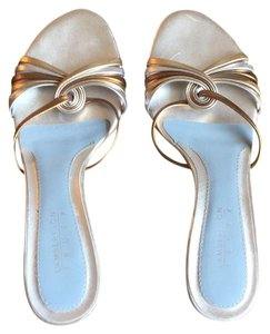 Lambertson Truex Silver and gold straps with silver and baby blue insole. Pumps