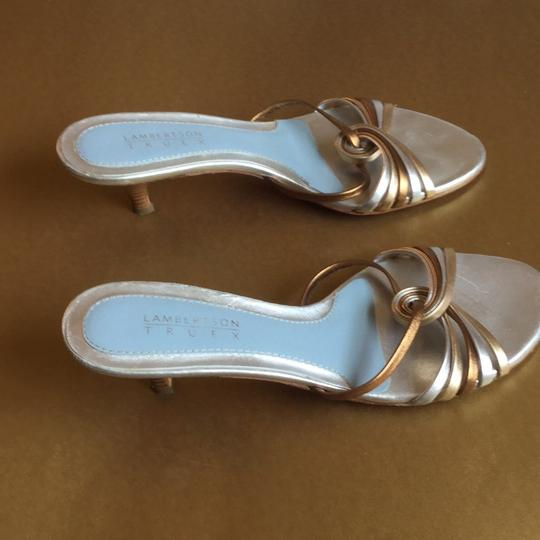 Lambertson Truex Silver and gold straps with silver and baby blue insole. Pumps Image 1