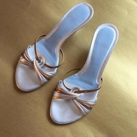 Lambertson Truex Silver and gold straps with silver and baby blue insole. Pumps Image 7