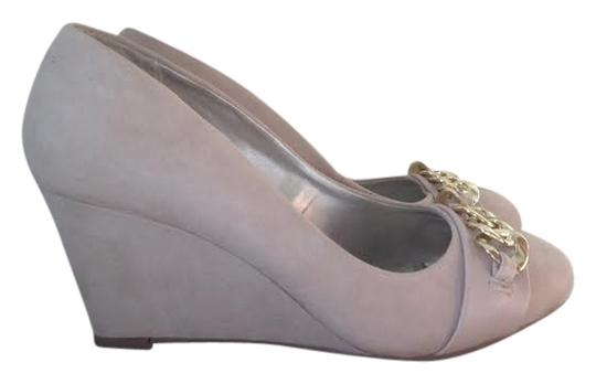 Madeline Stuart Office Gold Metal Chain Nude Wedges