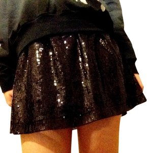Romeo & Juliet Couture Skater Sequin Enbellished Mini Mini Skirt Black