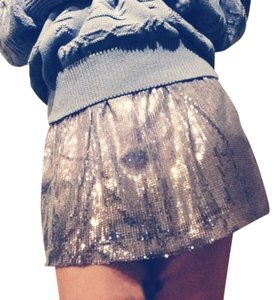 Romeo & Juliet Couture Sequin Mini Skater Girly Mini Skirt Silver