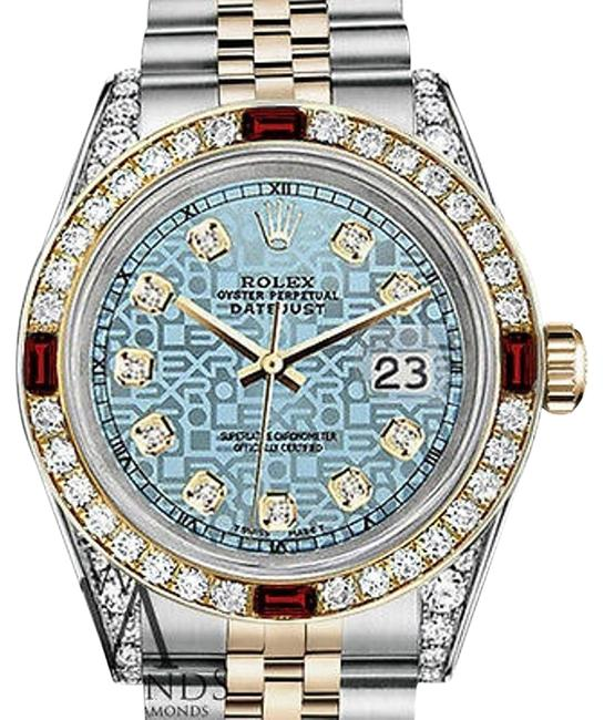 Rolex Steel & Gold 36mm Datejust Jubilee Iceblue Dial Ruby Diamond Watch Rolex Steel & Gold 36mm Datejust Jubilee Iceblue Dial Ruby Diamond Watch Image 1