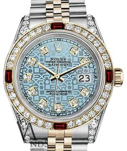 Rolex Women's Rolex Steel & Gold 31mm Datejust Watch Jubilee IceBlue Dial Ruby Diamond Bezel