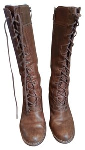Frye Villager Distressed Leather Lace Up Gold Brown Boots
