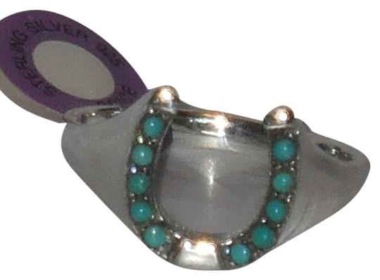 J Brand Mens or Ladies 925 Sterling Silver Genuine Turquoise Lucky Horseshoe Ring Size 10 11 12 13 14 ..please message or email size preference...thank you