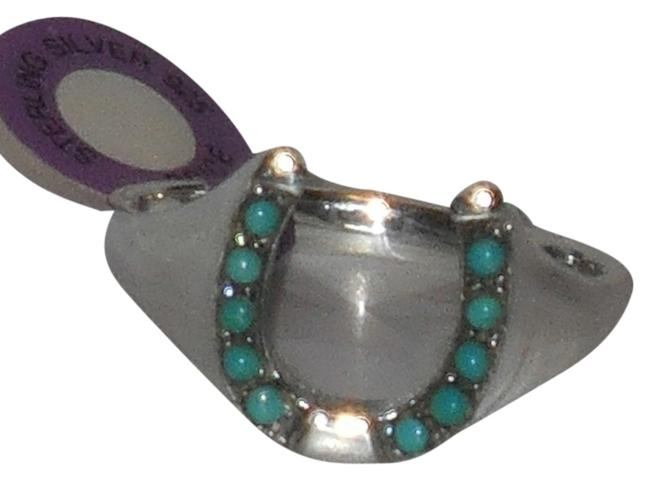 Item - Blue Mens Or Ladies 925 Sterling Silver Genuine Turquoise Lucky Horseshoe Size 10 11 12 13 14 ..please Message Or Email Ring