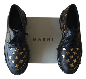 Marni Leather Lace Black and Gold Platforms
