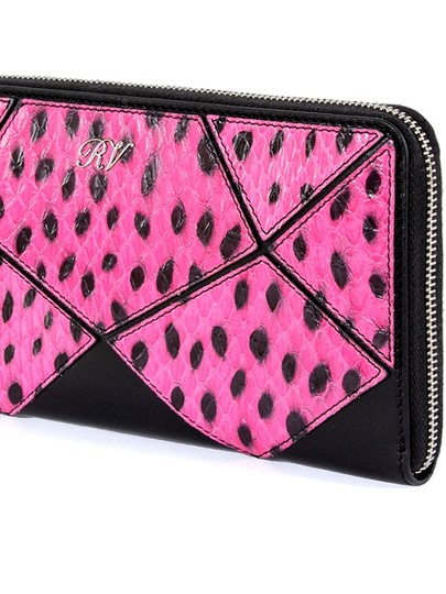 Roger Vivier Roger Vivier Black Leather And Dots Pink Snakeskin Zip Around Prismick Wallet