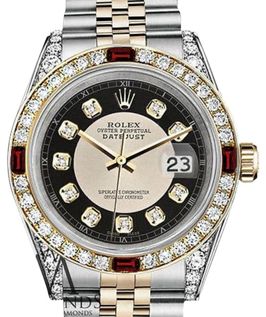 Rolex Steel & Gold 36mm Datejust Tuxedo Dial Ruby & Diamond Watch Rolex Steel & Gold 36mm Datejust Tuxedo Dial Ruby & Diamond Watch Image 1