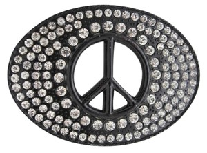 Other New Men Women Black Hippie 70's Cool Metal Peace Sign Belt Buckle