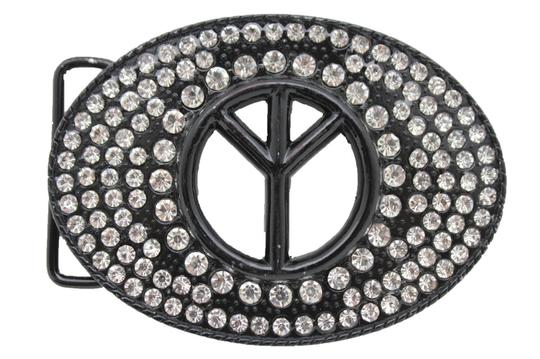 Alwaystyle4you New Men Women Black Hippie 70's Cool Metal Peace Sign Belt Buckle Image 2