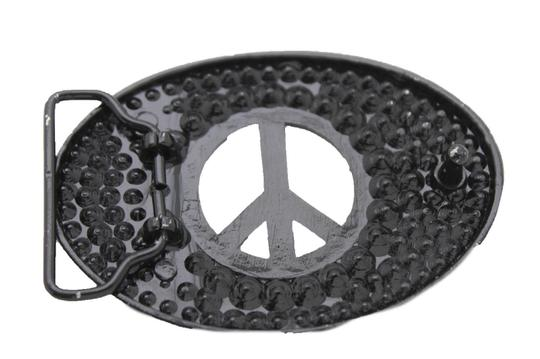 Alwaystyle4you New Men Women Black Hippie 70's Cool Metal Peace Sign Belt Buckle Image 3