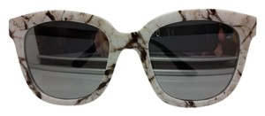 Pearle Optical PEARLE OPTICAL BIG EYE FAUX MARBLE FRAMES SUNGLASSES MIRROR SILVER LENS 100%UV PROTECTION