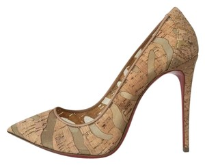 Christian Louboutin So Kate Cork Noisette Devore Striped Nude Pumps