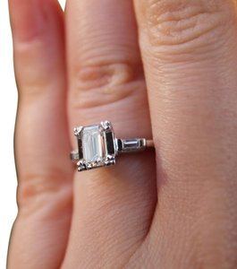 Vintage Emerald Cut Diamond Engagement Ring Vintage 14K Emerald Cut Diamond Engagament Ring