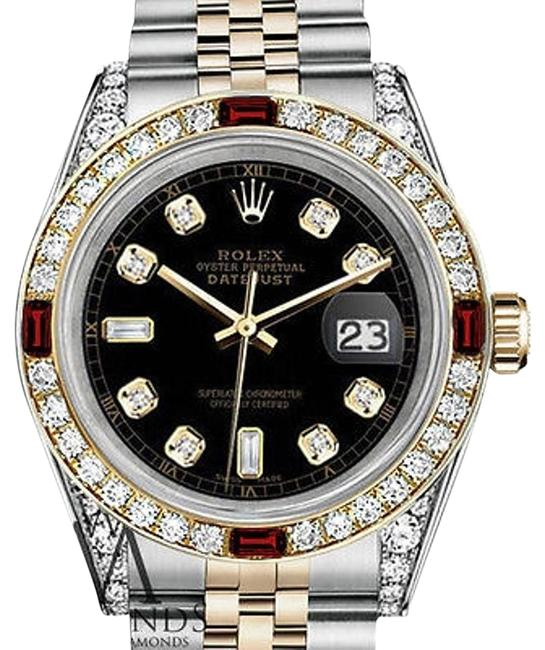 Rolex Ladies Steel & Gold 26mm Datejust Dial A Track Rubydiamond Watch Rolex Ladies Steel & Gold 26mm Datejust Dial A Track Rubydiamond Watch Image 1