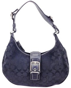 Coach Canvas Leather Signature Hobo Buckle Shoulder Bag