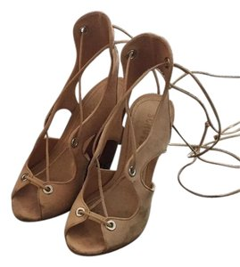 SCHUTZ Nude Lace Up Heels Nude Sandals