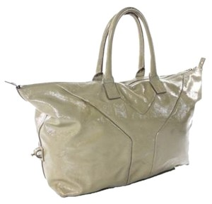 Saint Laurent Easy Sac Ysl Patent Leather Satchel in Nude