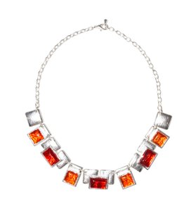 Other Resin Square Peg Sterling Silver Plated Necklace
