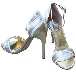 Ivanka Trump Leather Ankle Strap Gold/White/Silver Formal