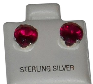J Brand 925 Sterling Silver Created Ruby 7mm Round Cut Stud Earrings