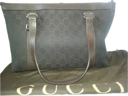 Gucci Canvas Leather Tote in brown monogram