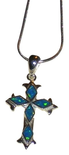 """J Brand 925 Sterling Silver Real Blue Opal Diamond Cut Cross Necklace 1"""" High Inlcludes 925 Sterling Silver Chain"""