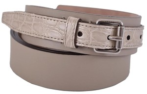 Gucci New Gucci Men's 341747 Alligator and Leather Palladium Buckle Belt 100 40