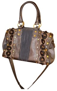 Christian Audigier Studded Fringe Hip Young Satchel in Gunmetal/Gold/Browns