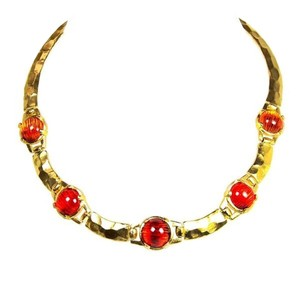 Other 24-kt Gold-Plated Hammered Gypsy Pewter Resin Collar Necklace