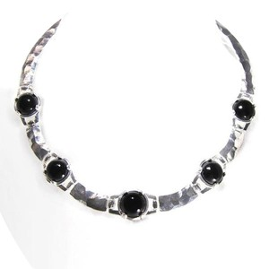 24-kt Gold-Plated Hammered Gypsy Pewter Resin Collar Necklace