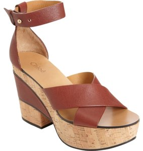 Chloé Sandals Platform Wedge Chunky Red/brown Platforms
