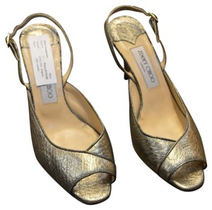Jimmy Choo Sling Back Peep Toe Metallic Pumps