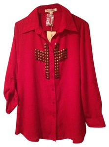 Hot & Delicious Studded Sheer Button Down Shirt Red