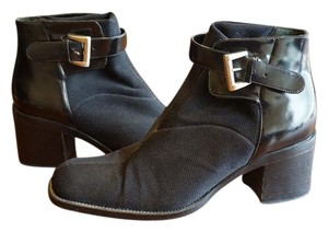 Via Spiga Black Ankle Buckle Boots